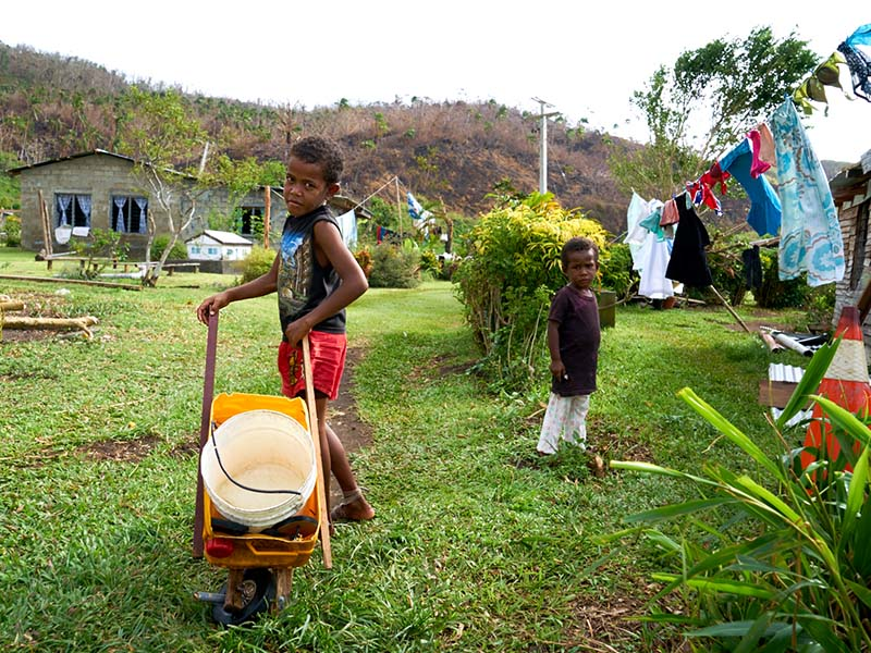 The force of TC Winston destroyed five water tanks in Rukuruku, forcing the community to cart water from a creek.