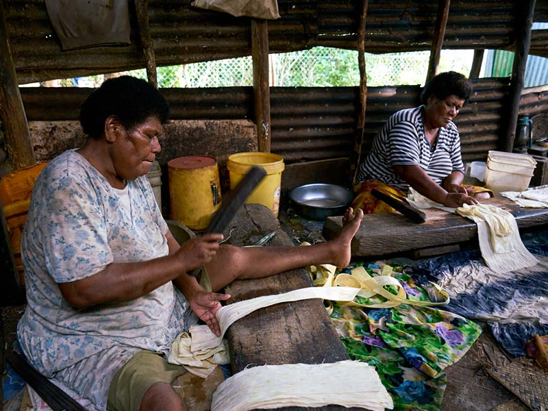 The deep resonating thump of wood beating against wood echoes around the village. Mere and Loraini are making tapa cloth; a tradition unique to Vatulele.