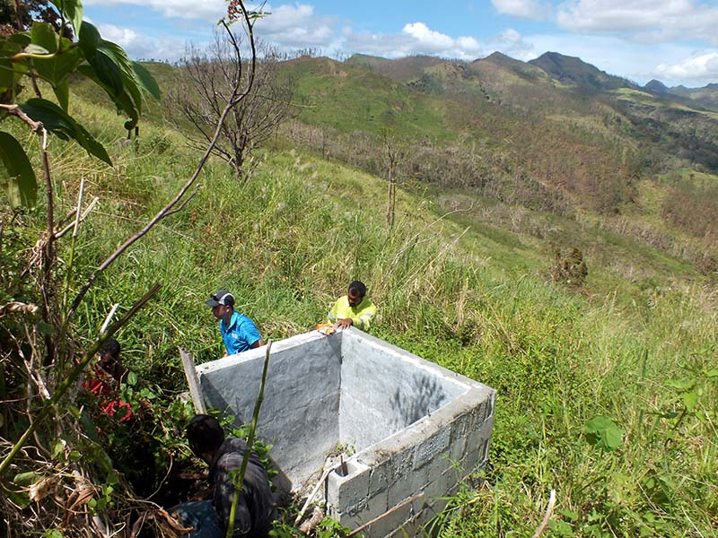 The spring collection box was built by members of the community 265m above sea level.